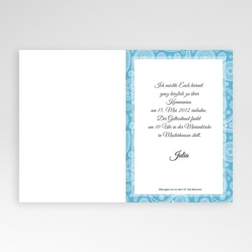 Einladungskarten Kommunion Mädchen  Ornament Blau pas cher
