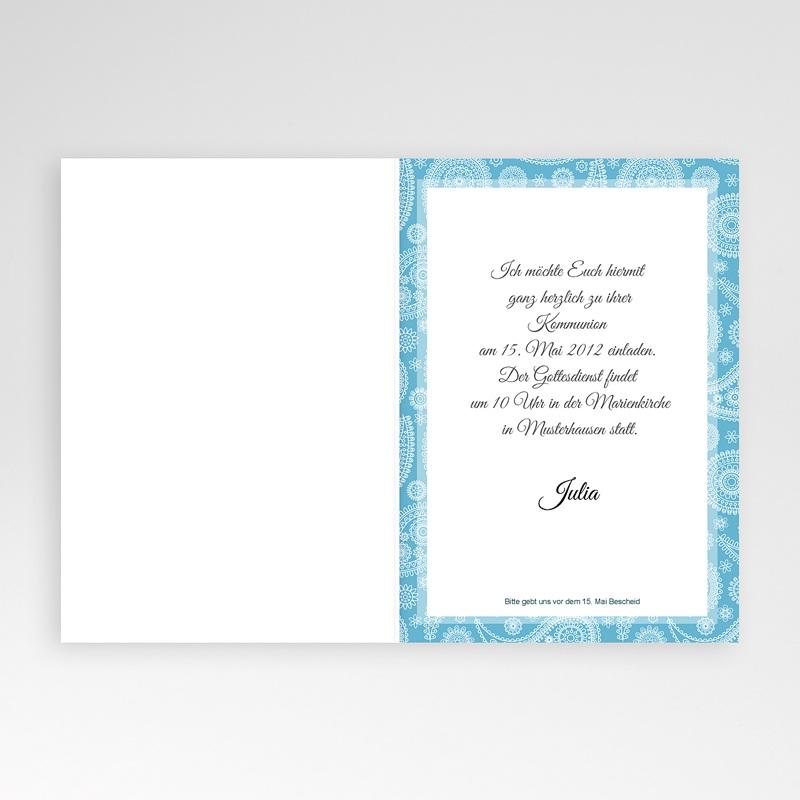 Einladungskarten Kommunion fur Mädchen  Ornament Blau pas cher