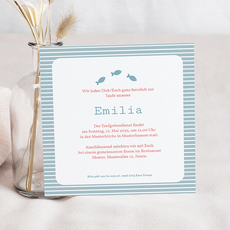 Einladungskarten Taufe Mädchen - Louise 1161 thumb