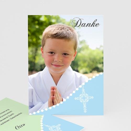 Dankeskarten Kommunion Jungen Blau Gepunktet