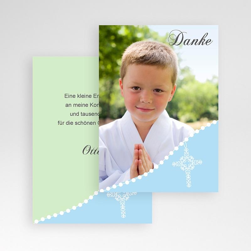 Dankeskarten Kommunion Jungen Blau Gepunktet pas cher