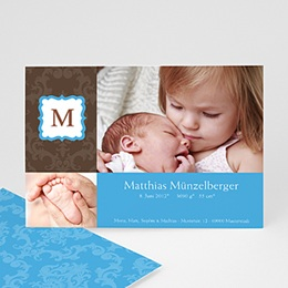 Karten Geburt Initialien Baby