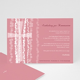 Einladungskarten Kommunion Mädchen - Einladungskarte pink - 1