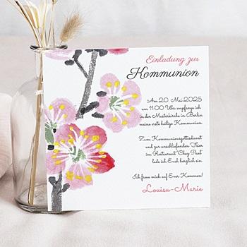 Einladungskarten Kommunion Mädchen Blumig floral