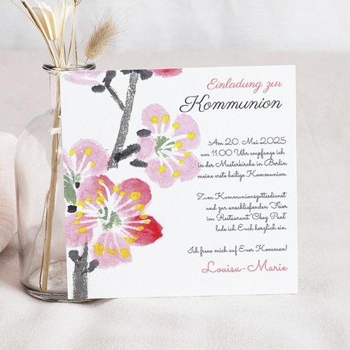 Einladungskarten Kommunion fur Mädchen Blumig floral