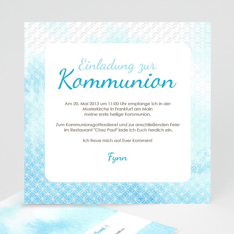 Einladungskarten Kommunion Jungen - Blauton 12578 thumb