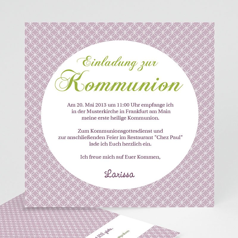 Einladungskarten Kommunion fur Mädchen Ornament
