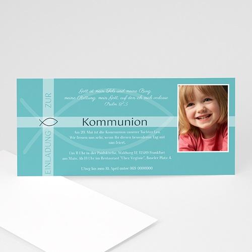 Einladungskarten Kommunion Mädchen - Ichthys und Kreuz 12695