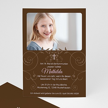 Einladungskarten Kommunion Mädchen - Kommunionseinladung braun - 1