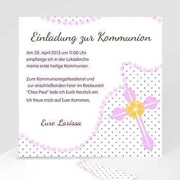 Einladungskarten Kommunion Mädchen Perlenkette mit Kreuz