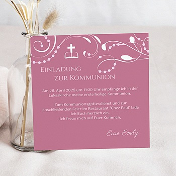 Einladungskarten Kommunion Mädchen - Stilvolle Einladungskarte - 1