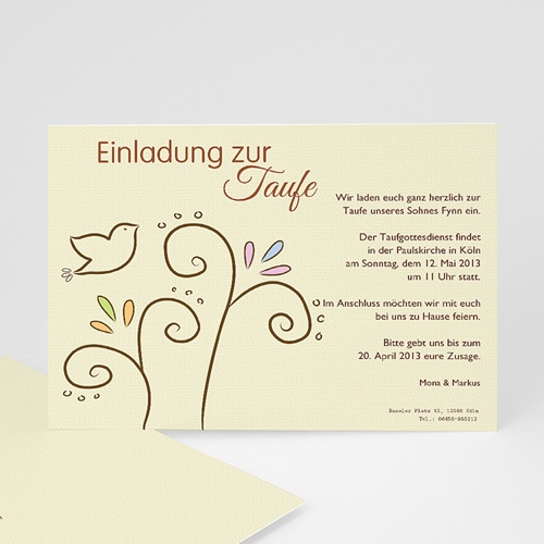 Einladungskarten Taufe Mädchen - Taube 12743 thumb