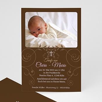 Einladungskarten Taufe Mädchen - Kommunionseinladung braun - 1