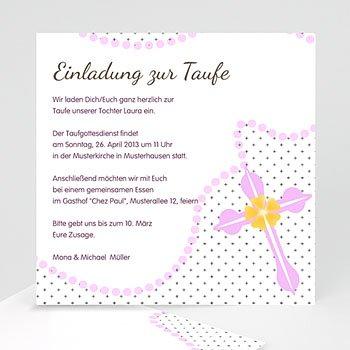 Einladungskarten Taufe Mädchen - Kommunionskarte Zartrosa - 1