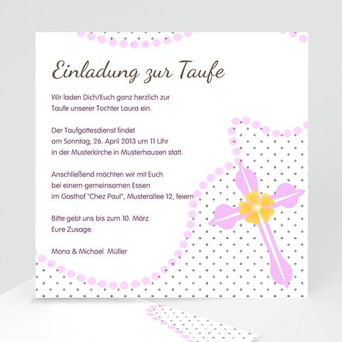 Einladungskarten Taufe Mädchen Zartrosa Cartelandde