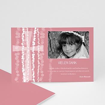 Dankeskarten Kommunion Mädchen - Einladungskarte pink - 1