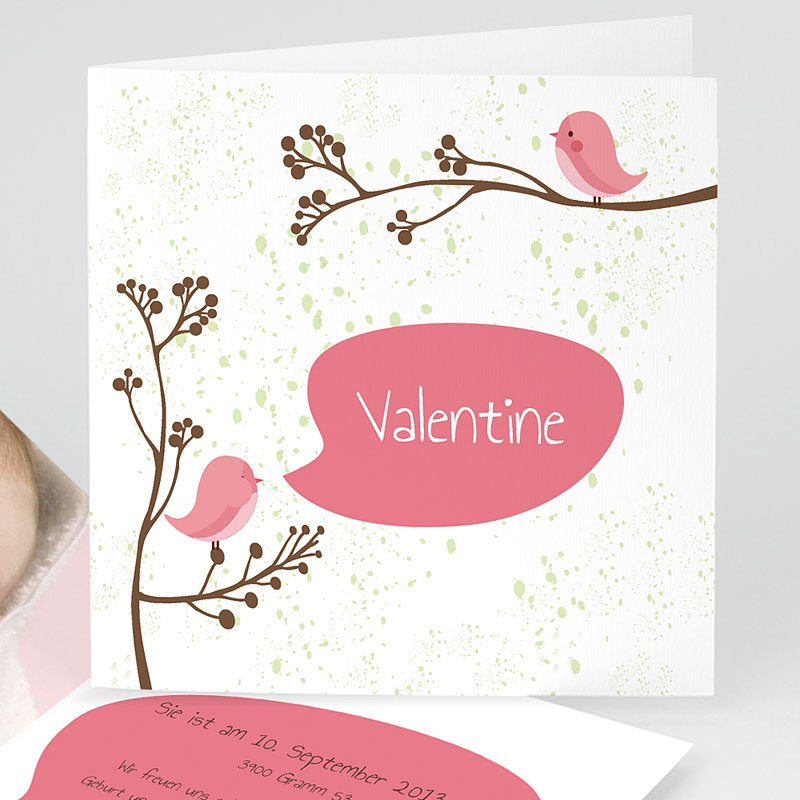 Geburtskarten für Mädchen Pip Pip- Rosa