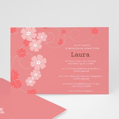 Einladungskarten Kommunion Mädchen - Blumig 13113