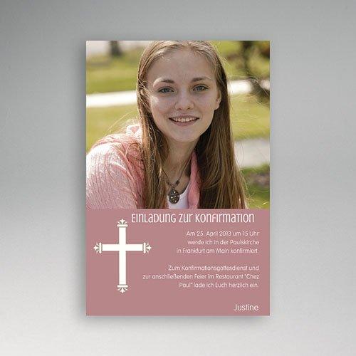 Einladungskarten Konfirmation Kreuzzeichen - mit Farbvarianten