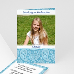 Karten Confirmation Ornament blau - mit Farbvarianten