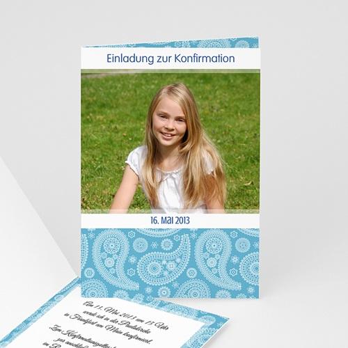 Einladungskarten Konfirmation Ornament blau - mit Farbvarianten