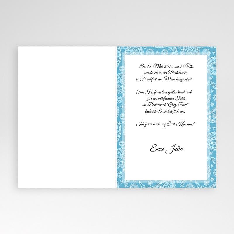 Einladungskarten Konfirmation Ornament blau - mit Farbvarianten pas cher