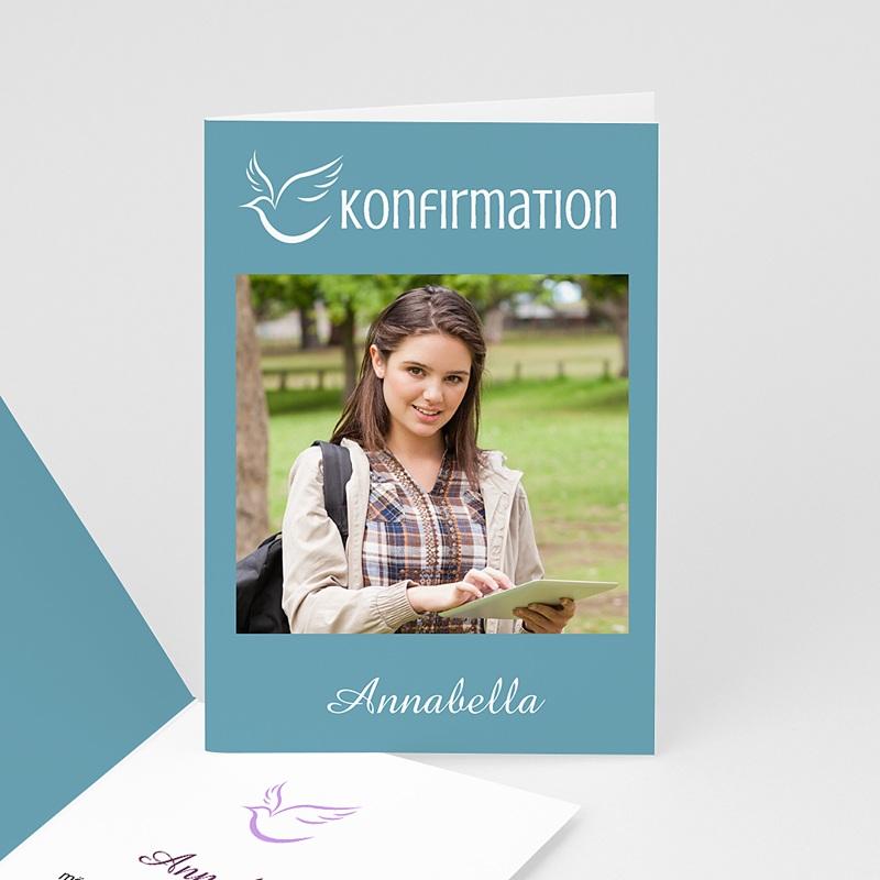 Einladungskarten Konfirmation Taube - mit Farbvarianten