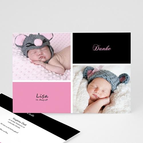 Dankeskarten Geburt Mädchen - Schlicht 14672