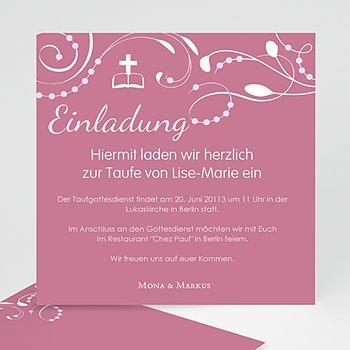 Einladungskarten Taufe Mädchen - Stilvolle Einladungskarte - 1