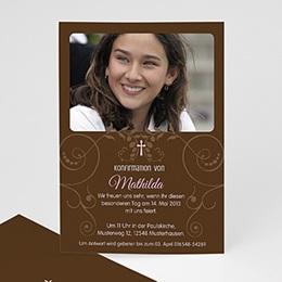 Einladungskarten Konfirmation - Kommunionseinladung braun - 1