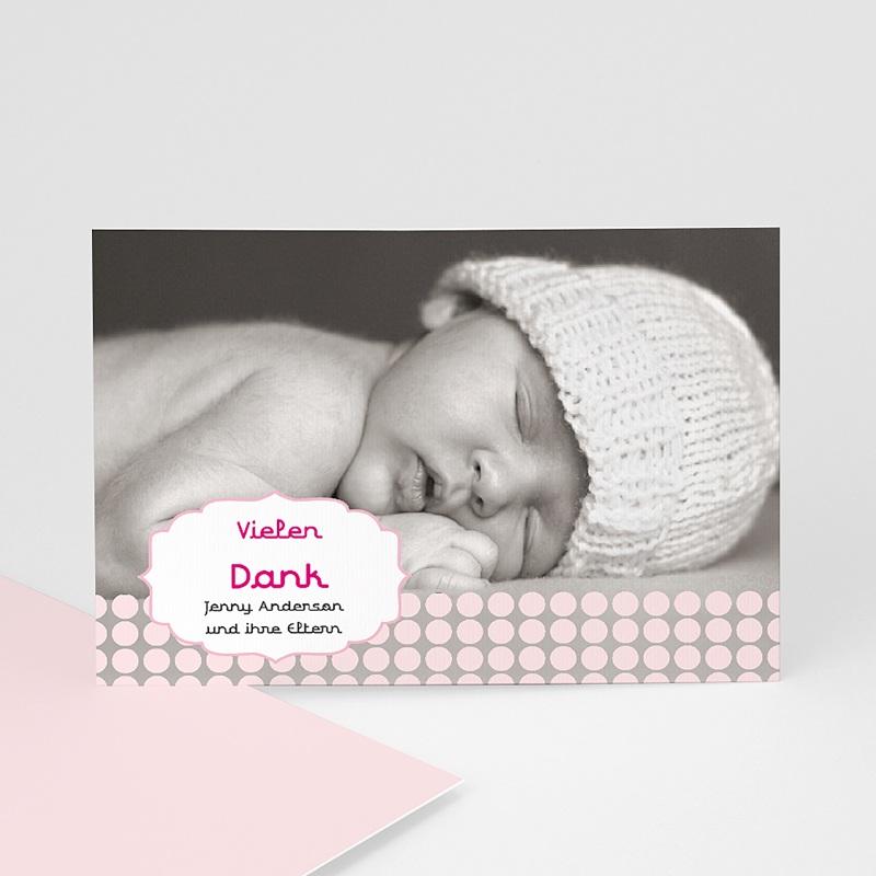 Dankeskarten Geburt für Mädchen Retro Rosa