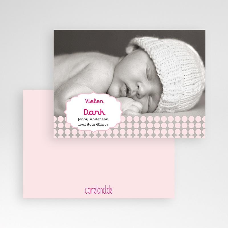 Dankeskarten Geburt für Mädchen Retro Rosa pas cher