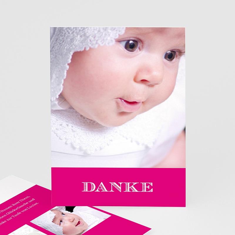 Dankeskarten Taufe Mädchen Typo Rose