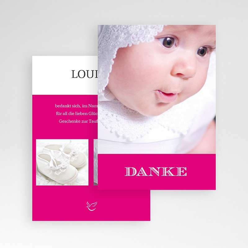 Dankeskarten Taufe Mädchen - Typo Rose 14951 thumb