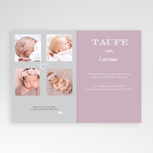 Einladungskarten Taufe für Mädchen Typographie pas cher