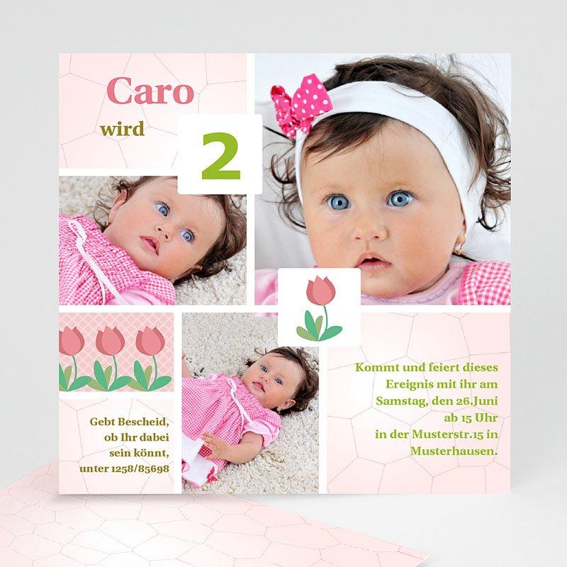 Einladungskarten Geburtstag Mädchen Rosa Tulpen