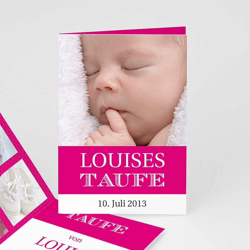 Einladungskarten Taufe für Mädchen Typo Rose
