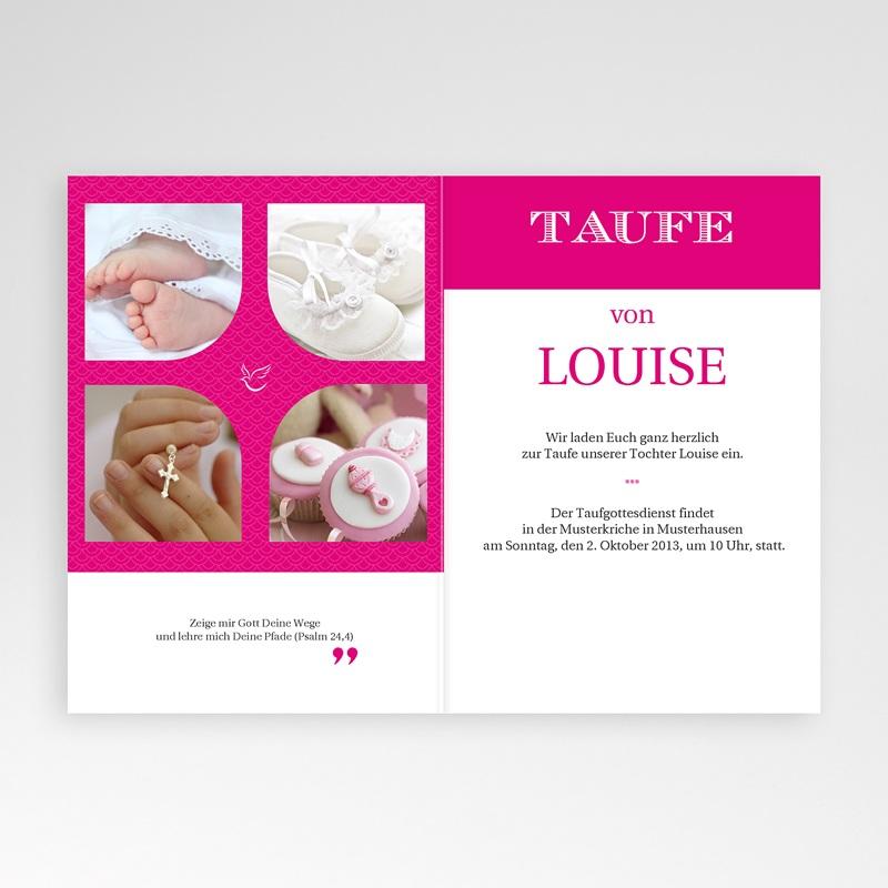 Einladungskarten Taufe für Mädchen Typo Rose pas cher