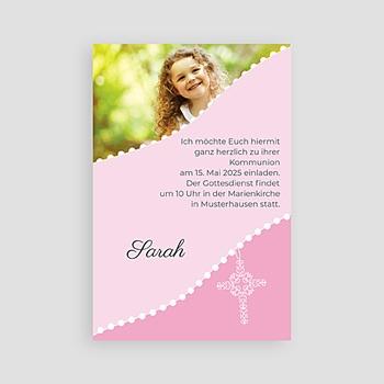 Einladungskarten Kommunion Mädchen Kreuz in rosa