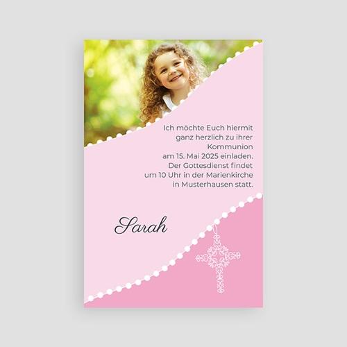 Einladungskarten Kommunion Mädchen - Kreuz in Rosa 1500
