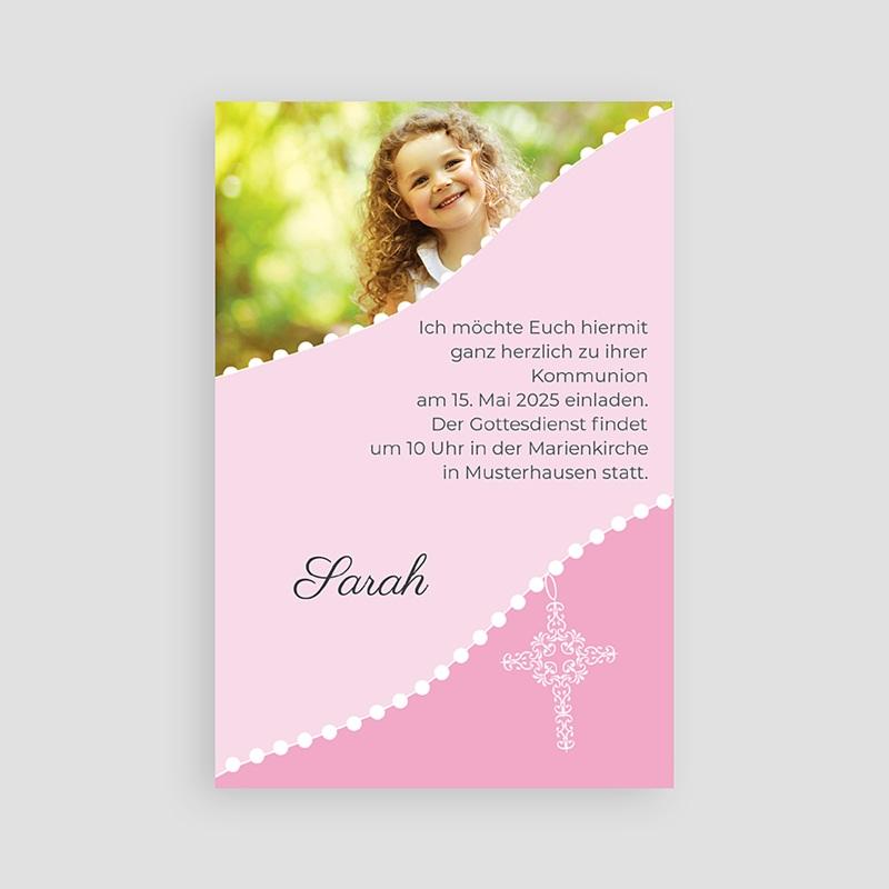 Einladungskarten Kommunion Mädchen - Kreuz in rosa 1500 thumb