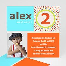 Einlegekarte Kindergeburtstag Türkis Orange