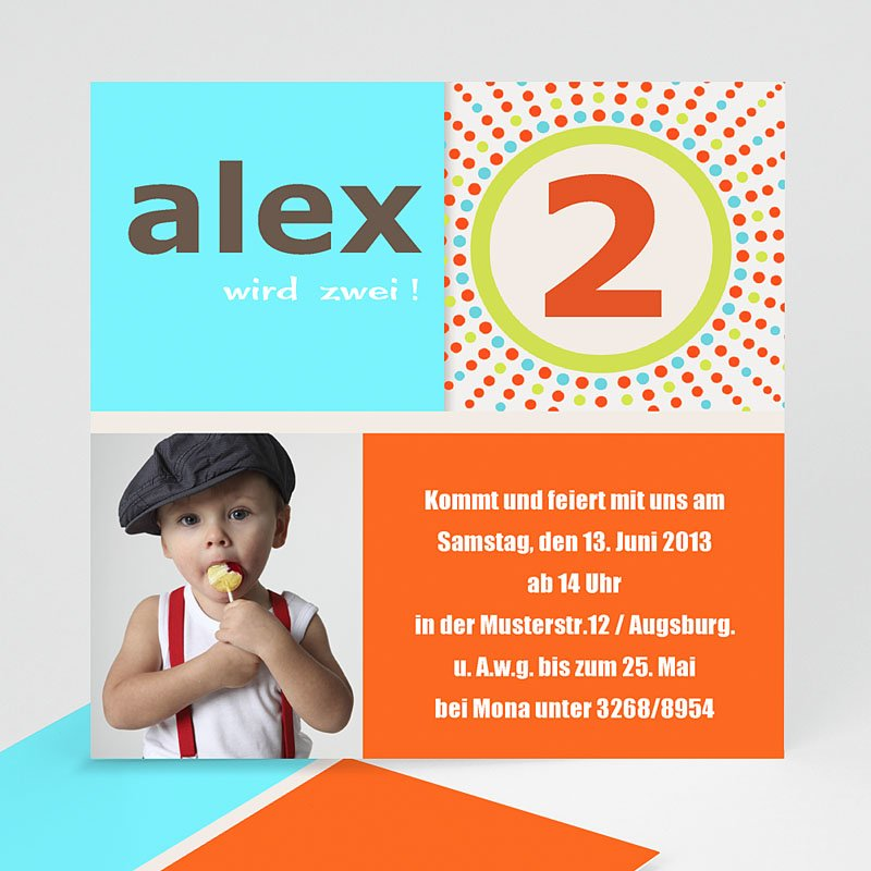 Einladungskarten Geburtstag Jungen Türkis Orange