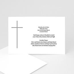Karten Décès Chrétien Graues Kreuz