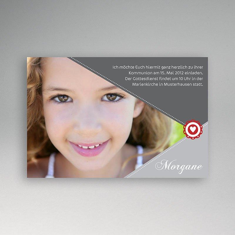 Einladungskarten Kommunion Mädchen - Mit Herz 1556 thumb
