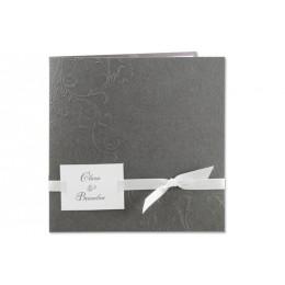 Einladung grau Blumenreliëf Arabesken JY-22 - 1