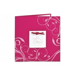 Einladung fuchsia mit rosa Arabesken JZ-512 - 1