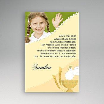 Einladungskarten Kommunion Mädchen Mit kleinem Kelch