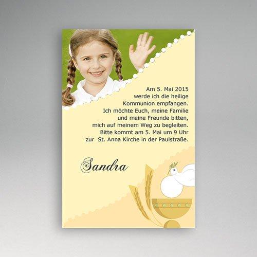 Einladungskarten Kommunion fur Mädchen Mit kleinem Kelch