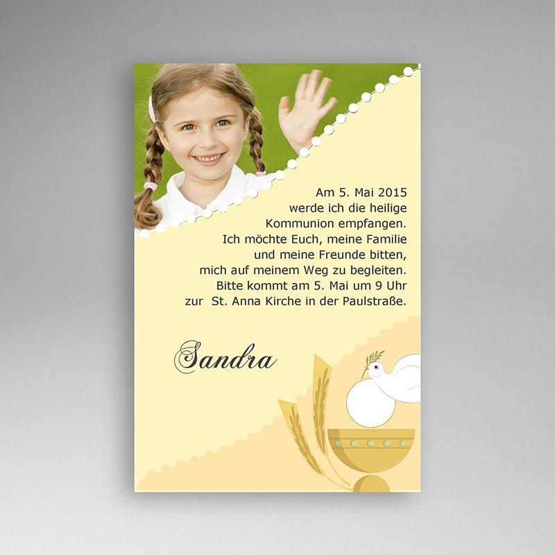 einladungskarten kommunion mädchen - mit kleinem kelch | carteland.de, Einladung